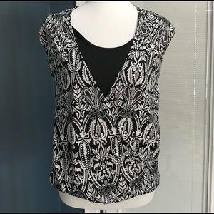 Sleeveless wrap front blouse top shirt Sz M
